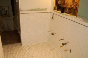 Subway tile up wall